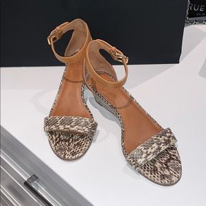 Tory Burch python exotic skin wedge sandals